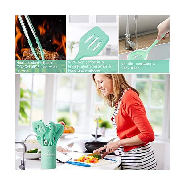 Kitchen Utensil Set - 12 Cooking Utensils Set- Colorful Silicone Kitchen Utensils - Nonstick Cookware with Spatula Set… 5