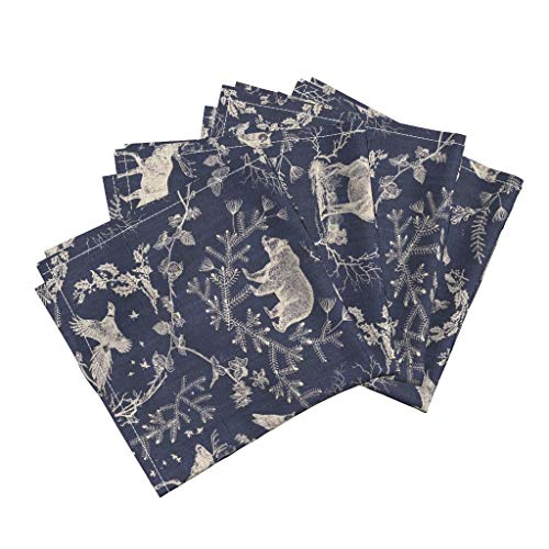 Toile Linen Cotton Dinner Napkins Deer Stag Rabbit Owl Toile Christmas Navy Moose Night Time Midnight Blue Log Cabin Nature by Nouveau Bohemian Set of 4 Dinner Napkins