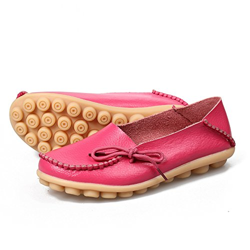 Shoes SUNROLAN Flat Cowhide Rose Womens Leather Red Slipper Slip Loafers Lace Casual Driving up On 7qgAfwnC71