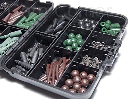 Karpfen Gerät Flip Box 170 Pieces Angeln-Rigs Anschlusssatz geschenkidee Haken Perlen Klemmen Wirbel UND MEHR NPXROw7k