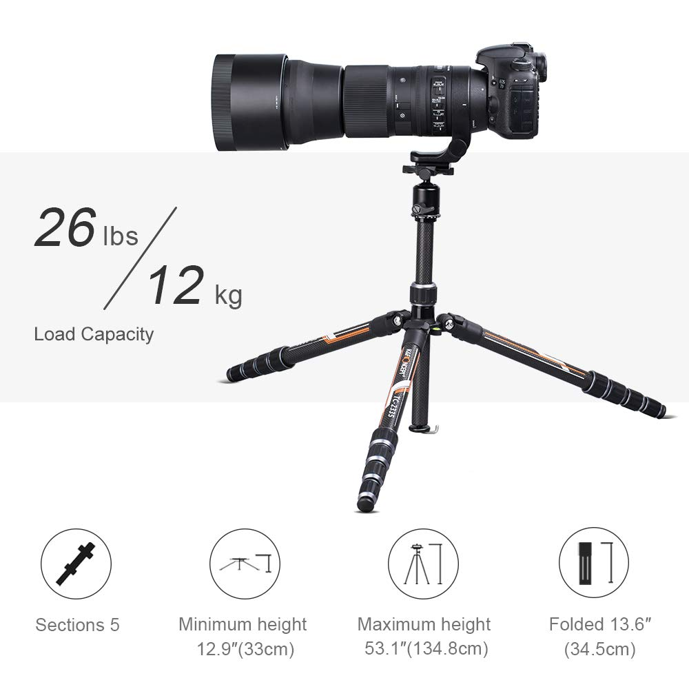 K&F Concept Professional Carbon Fiber Camera Tripod with 360 Degree Ball Head Quick Release Plate for DSLR Camera, Load up to 26.5 pounds/12 kilograms by K&F Concept (Image #5)