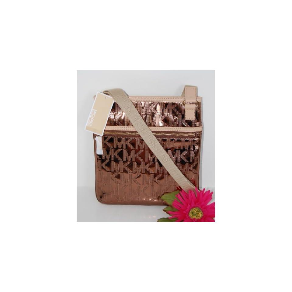 MICHAEL KORS Jet Set Mirror Metallic Cocoa Brown MK Logo PVC Crossbody Bag