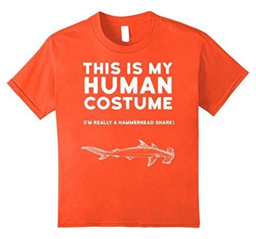Kids This Is My Human Costume Hammerhead Shark Halloween Shirt 8 Orange (Hammerhead Shark Halloween Costume)