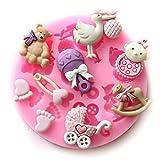 Longzang Mini Silicone Sugar, Fondant and Cake Mold, Baby Shower Theme, Pink