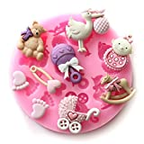 Longzang Mini Silicone Sugar, Fondant and Cake Mold, Baby Shower Theme, Pink