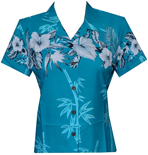 (Hawaiian Shirt 35W Women Bamboo Tree Print Aloha Beach Top Blouse Turquoise L)