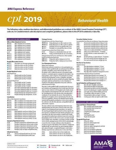 Top 2 behavioral health cpt codes for 2019