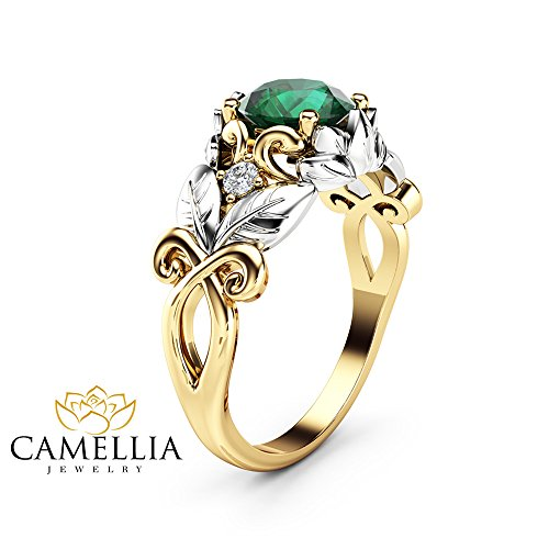 (Natural Emerald Engagement Ring 14K Two Tone Gold Leaf Ring Gemstone Ring)