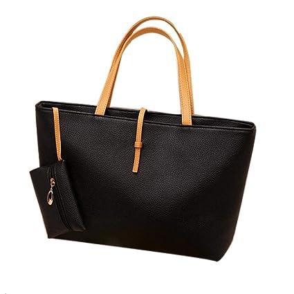 2f3cb378f4 Elogoog Women Handbag Stylish Faux PU Leather Shoulder Bag Casual Ladies Tote  Bag Satchel Shopper Bag