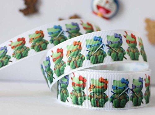 10 Yards 7/8 Inch Green Hello Kitty Ninja Cartoon Grid Pattern Printed Grosgrain Ribbon -