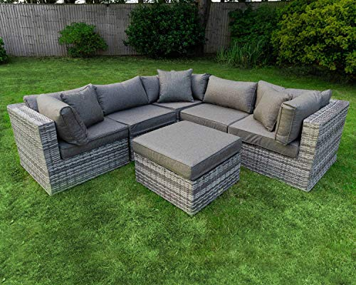Outdoor Conversation Sets Rattan Patio Furniture Clearance No Assembly Wicker Ottoman Aluminum Outside Sectional Couch Sofa Patio Seating 6pcs Backyard Furniture w/Free Waterproof Cover- 3Toss pillows
