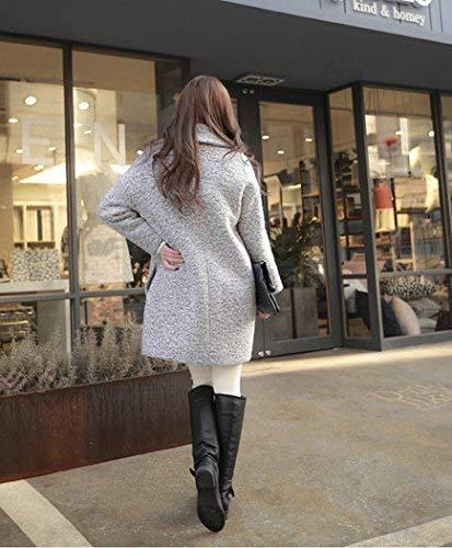 Abbigliamento Autunno Giacca Lunga Casual Puro Tasche Bavero Baggy Streetwear Manica Grau Swag Moda Donna Cappotti Colore Outwear Coat Laterali xtqO04w46