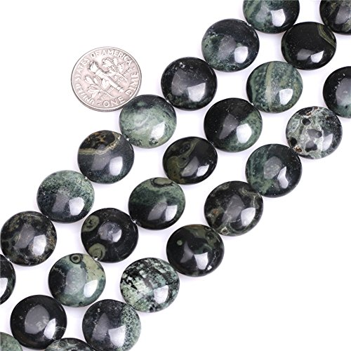 Jasper Coin Beads - 14mm Coin Natural Dark Blue Rhyolite Kambaba Jasper Beads for Jewelry Making Strand 15