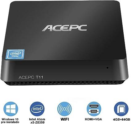 Mini PC,T11 Windows 10 Pro (64 bits),Intel Atom x5-Z8350,4GB RAM + ...