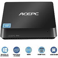 """Windows 10 Pro MiNi PC Intel Cherry Trail lüfterlose (64-Bit) Desktop-Computer [4 GB DDR / 64 GB EMMC/Unterstützung 2,5"""" SSD/m SATA SSD/Dual-Band WiFi / 4K/ 1000Mbps]"""