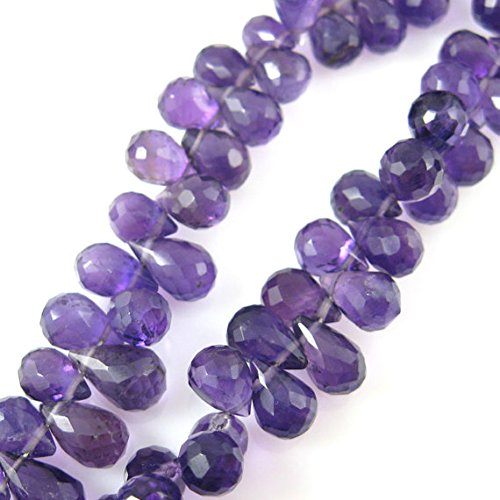 Amethyst Gemstone-Semi Precious Gemstone Bead Faceted Briolette Bead-Teardrop- 8 mm 15 PCS