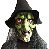 Dasior Latex Witch Mask with Black Hair and Hat for Halloween Party Costume Decorations Green