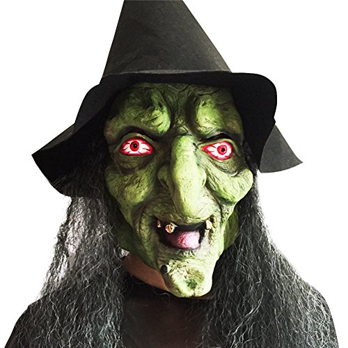 Dasior Latex Witch Mask with Black Hair and Hat for Halloween Party Costume Decorations -