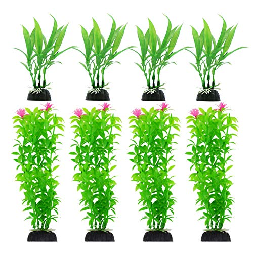 CousDUoBe 8 Pack Artificial Aquarium Plants, Used for Household and Office Aquarium Simulation Plastic Hydroponic Plants(Maximum 8 inches, Green)