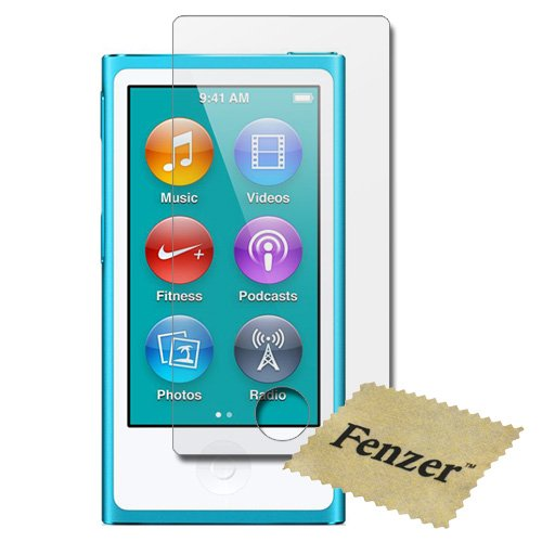 100 Pack Fenzer Anti-Scratch Clear Screen Protector for Apple iPod Nano 7th Generation 7 Gen w/ Cloth