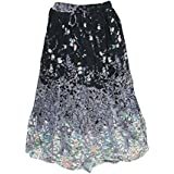 Mogul Interior Womens Peasant Long Skirt Vintage Patches Printed Patchwork S/M