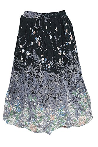 a2b1e10f6 Mogul Interior Womens Peasant Long Skirt Vintage Patches Printed Boho  Summer Patchwork Skirts (Beige)