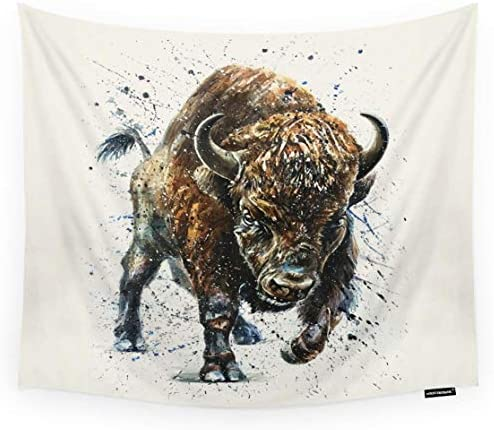 HGOD DESIGNS Buffalo Tapestry Wall Hanging Watercolor Animal Bison Buffalo Art Design Room Decorative Wall Tapestry for Men Women Girl Boy Polyester 60 X90