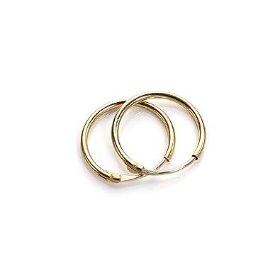8a9793563 9ct Gold Plain Sleepers 10mm Hoops Earrings Diameter 10mm / 1cm / 0.4 Inch