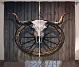 Ambesonne Barn Wood Wagon Wheel Curtains, Long Horned Bull Skull and Old West Wagon Wheel on Rustic Wall, Living Room Bedroom Window Drapes 2 Panel Set, 108 W X 63 L Inches, Black Brown White