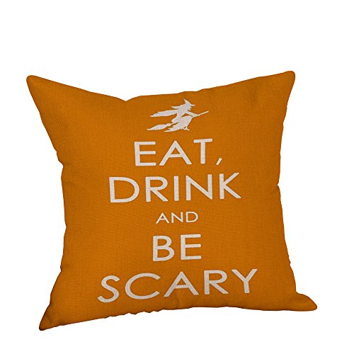 Halloween Party Pillow Covers, Keepfit Home Decor Pumpkin, Black Cat, Owl and Skeleton Printed Pillow Cases (Halloween U) -