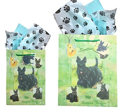 Dog Breed Gift Bags Set of Two with Tissue Paper (Friend Scottie Dog)