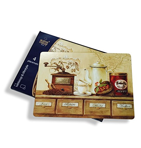 The Coffee Lovers Placemats, Set of 4, Cork-backed Board, Heat Resistant, Rustic Home Style, 16 x 11 ¼ inches, By Whole House Worlds