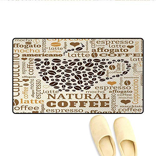 Bath Mat,Latte Cappuccino Affogato Natural with Cup Shaped Coffee Beans Image,Customize Door Mats for Home Mat,Cream Caramel and Brown,Size:24