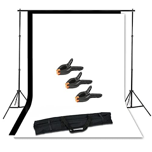 BPS Photo Studio Portable Adjustable Background Support Stand Kit Set for Photography - 3m x 1.6m Black and White Photography Backdrops + 3 Clamps + Free Carrying Bag