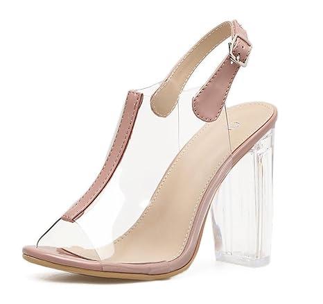 ab2819e8c3d57 Donna Sandali in PVC trasparente Sexy Cristallo Scarpe Di spessore alto Tacco  Trasparente Caviglia Cinghia Fibbia