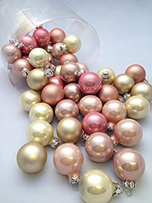 45 Pc Pink Gold Beige Decorative Hanging Ornaments Indoors Glass Xmas Christmas Tree Decor Ball Bauble Hanging Party Home