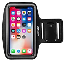 "MELOP Armband (4.7"") for iPhone X 8 7 6 6S 5 5C 5S SE, Samsung Galaxy On5 J1 J3 J5 S3 S4 S5 S6 Edge S8, LG K3 K7 Google Piexl 2 Soft Sports Gym Arm band with Key Holder and Card /Cash Pocket - Black"
