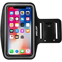 MELOP Armband for iPhone X 8 7 6 6S 5 5C 5S SE iPod Touch,Google Pixel 2, LG Q6, Essential Phone, BLU R1 HD Soft Sports Gym Arm band with Key Holder and Card Cash Pocket - Black