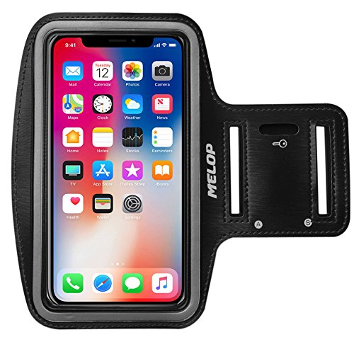 MELOP Armband for iPhone X XS 8 7 6 6S 5 5C 5S SE iPod Touch,Google Pixel 2, LG Q6, Essential Phone, BLU R1 HD Soft Sports Gym Arm Band with Key Holder and Card Cash Pocket - Black