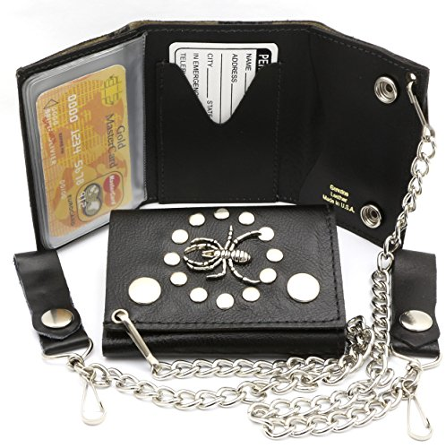 - Trifold USA Made Black Genuine Leather Biker Wallet With Spider Design With a Chain