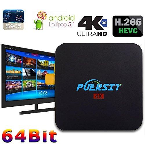 Puersit Q2 Pro Android 5.1 WiFi TV Box con 16.0 Quad Core 1 GB/8GB 4K