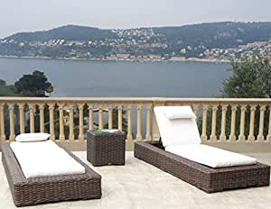 Outdoor Patio Resin Wicker Furniture Gerona Chaise Lounge 3 Piece Set (12 choices of Sunbrella fabric)