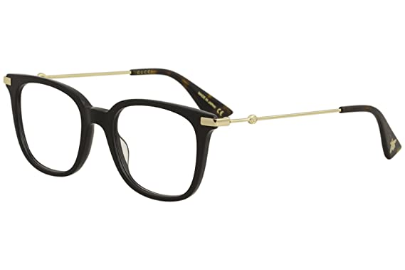 6a07c2b395c Amazon.com  Eyeglasses Gucci GG 0110 O- 001 BLACK GOLD  Clothing