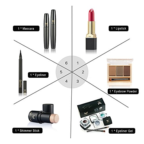 Huamianli 6Pcs Makeup Set Highlighter Shimmer Stick Lipstick Eyeliner Mascara Eyebrow Powder Eyeliner Pen (Type 2)