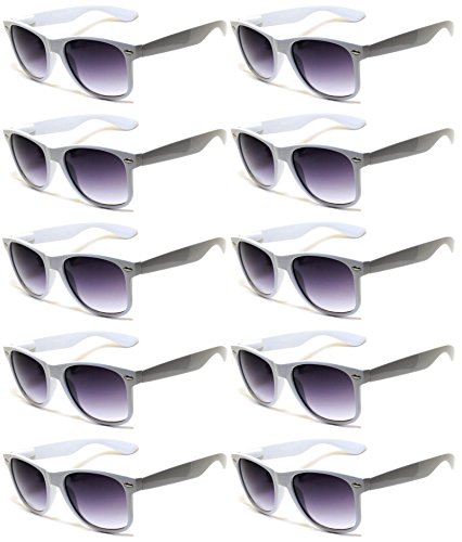 Classic Vintage Smoke Lens Sunglasses White Color 10 Pack - White Eyeglasses Framed
