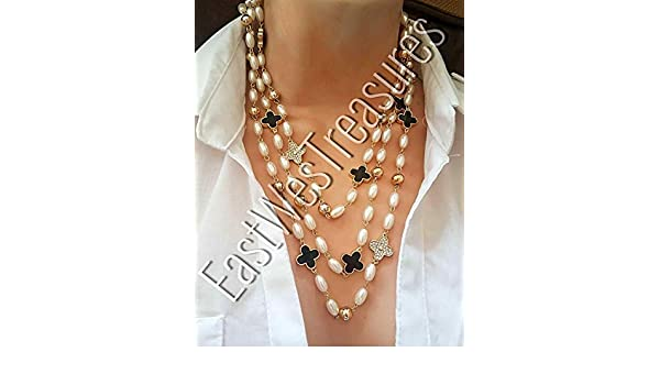 ee9751c47919c Amazon.com  EWT Double Triple layer long Faux Pearl beads beaded layered  layering necklace for women  Handmade