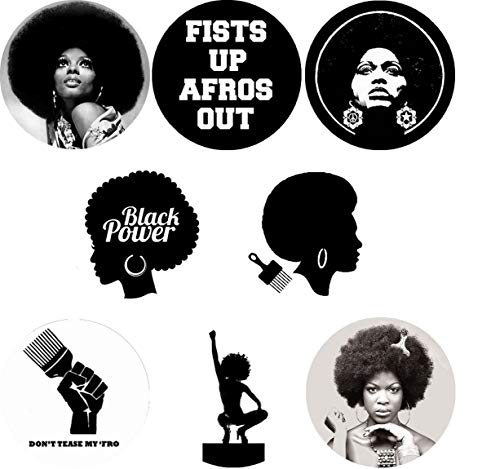 Black Power Afro 8 New 1 Inch (25mm) Set of 8 Pinback Buttons Badges Pins 1