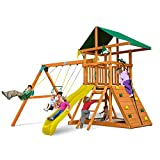 Outing Play and SwingSets with Wave Slide, Two Swings, Rock Climbing Wall, Ring/Trapeze Bar, Sandbox, Covered...