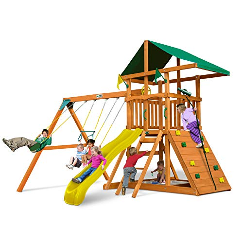 - Outing Play and SwingSets with Wave Slide, Two Swings, Rock Climbing Wall, Ring/Trapeze Bar, Sandbox, Covered Play Fort and Climbing Rope, from Gorilla Playsets