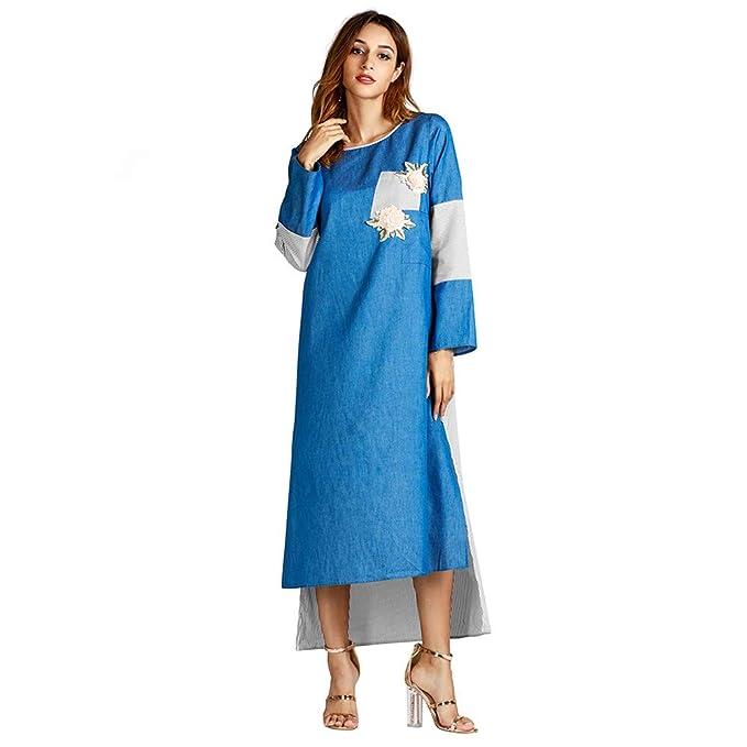 4dd16f364c Lenfesh Mujeres Vestido Largo con Manga Larga Otoño Invierno Vestido Casual  de Manga Larga Vestidos para Mujer Fiesta Noche  Amazon.es  Ropa y  accesorios